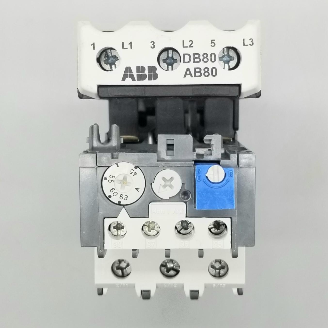 ABB TA75 DU Overload Relay w/ ABB DB80 AB80 Mounting Kit