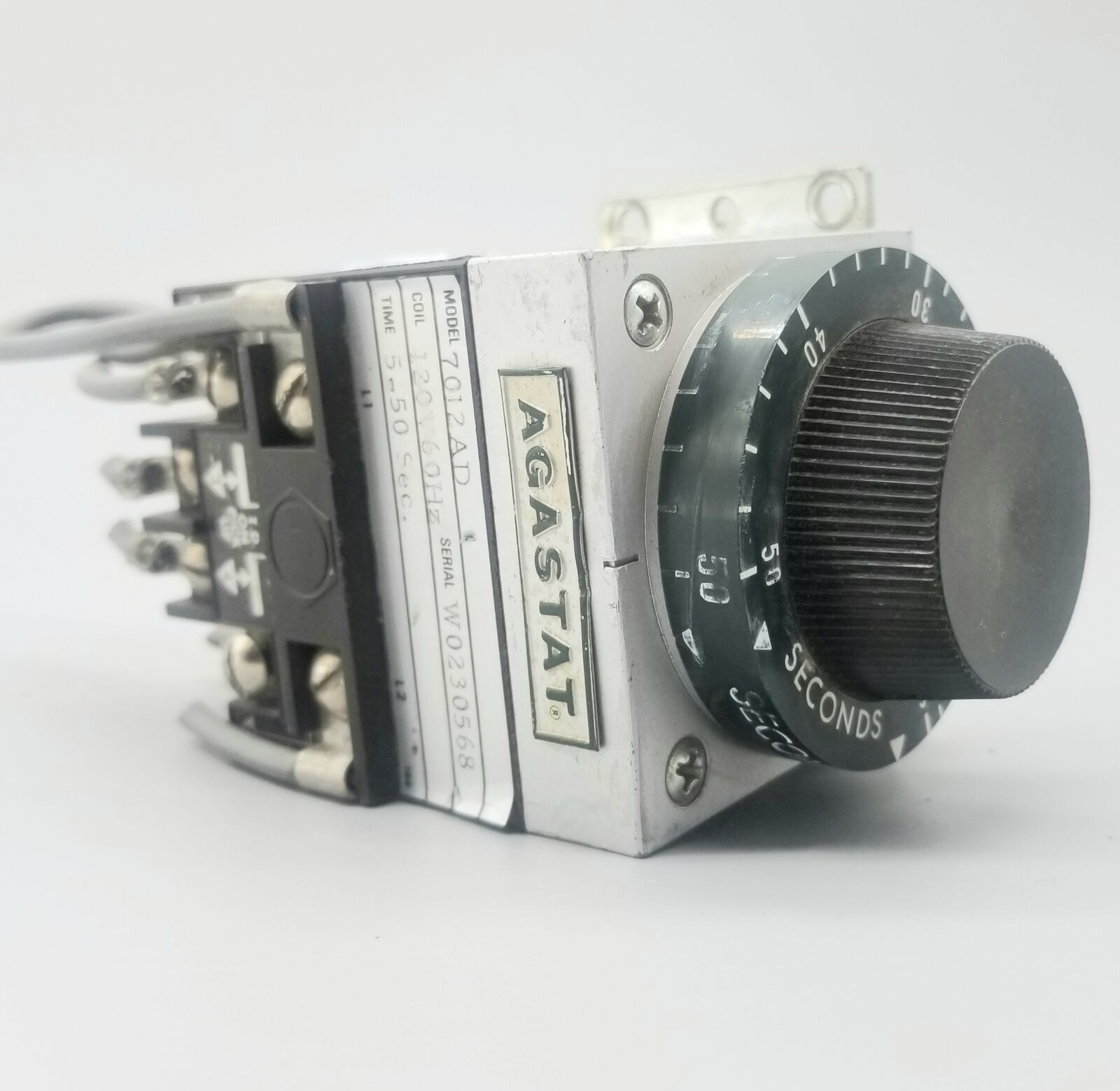 AGASTAT 7012AD Relay, Electropneumatic, Timing, On Delay, DPDT, Ctrl-V 120/110AC, 5-50 sec.