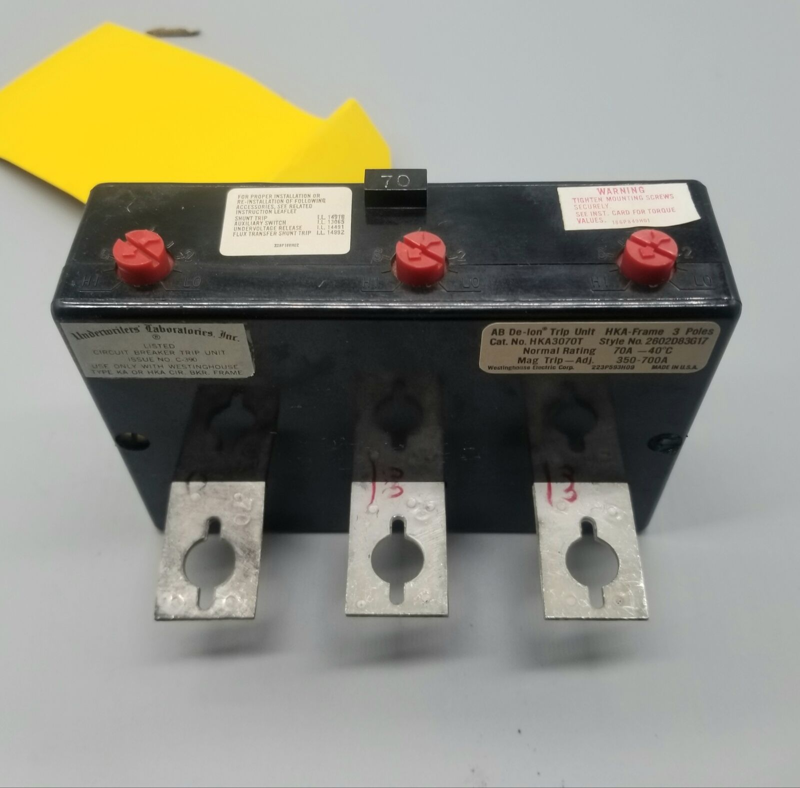 [NEW] Westinghouse HKA3070T Circuit Breaker Trip Unit, 70A